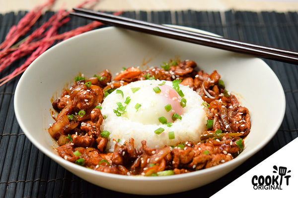 Korean Spicy Pork Bulgogi with Rice and Onsen Egg