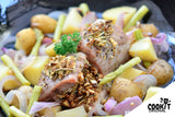 Roasted Pork Tenderloin in White Wine Sauce with Roasted Vegetables