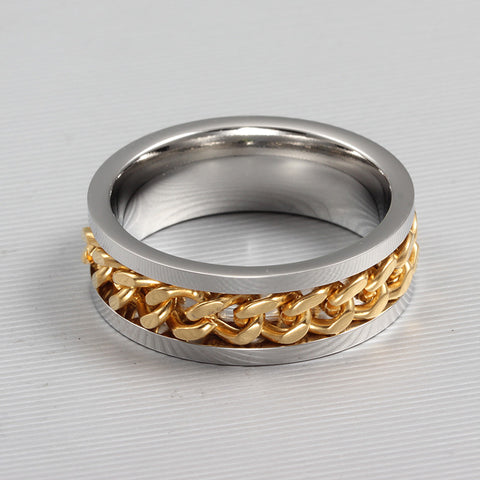 Fashion Spinner Chain Ring For Men Gold & Black & Silver Stainless