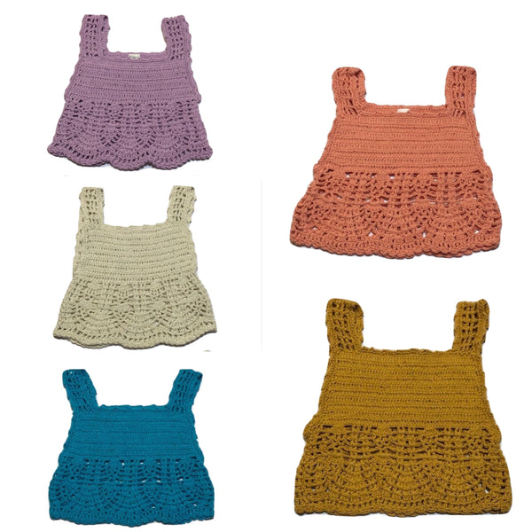 Crochet Girls Top - LACE WAVES