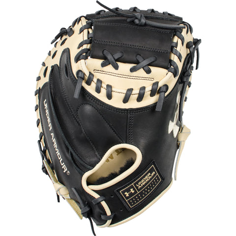 "Under Armour Genuine Pro Series 34.00"" Catcher's Mitt - Black Cream - Baseball Gloves - Hit A Double - 1"
