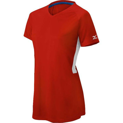 Mizuno Comp Short Sleeve V-Neck Womens - Red White - Softball Apparel - Hit A Double