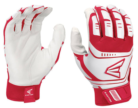 Easton Walk-Off Power Leverage Adult Batting Gloves - White Red