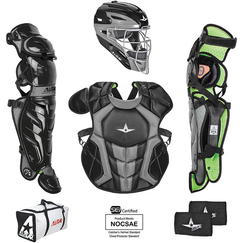 All-Star System 7 Certified NOCSAE Young Pro Catcher's Set (Ages 12-16) - Black