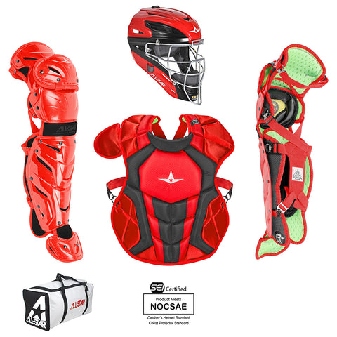 All-Star System 7 Certified NOCSAE Young Pro Catcher's Set (Ages 12-16) - Scarlet Black