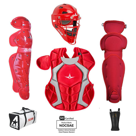 All-Star Player's Series Certified NOCSAE Catcher's Set (Ages 9-12) - Scarlet