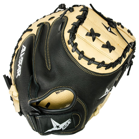 "All-Star 33.50"" CM3031 Comp Catcher's Mitt - Tan Black - Baseball Gloves - Hit A Double"