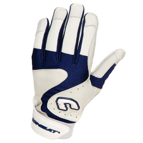 Combat Premium G3 Youth Baseball Softball Batting Gloves - White Navy