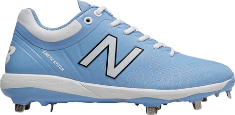 New Balance L4040v5 Low Cut Metal Cleat - Columbia Blue White - Baseball Footwear - Hit A Double - 1