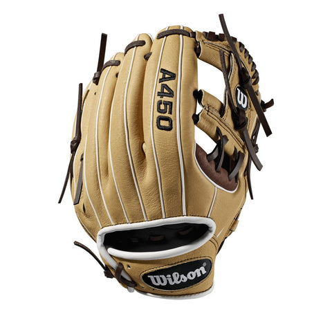 "Wilson A450 10.75"" Youth Utility Gloves WTA04RB191075 - Cork Brown"
