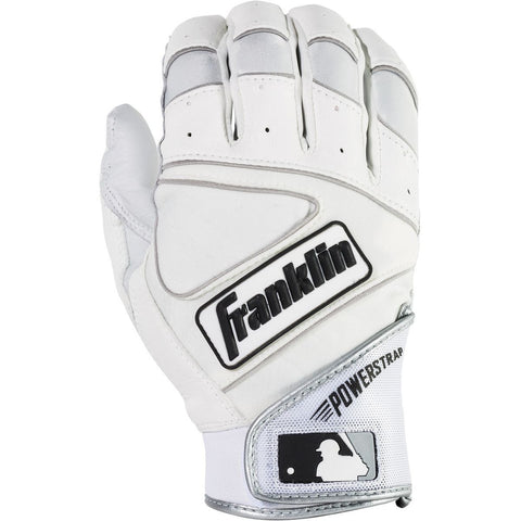 Franklin Powerstrap Adult Batting Gloves - Pearl White