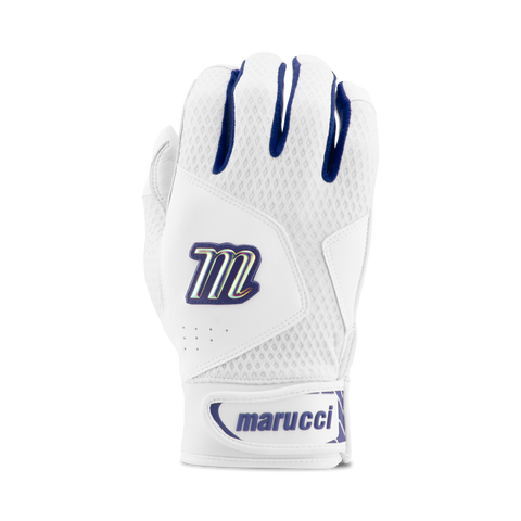 Marucci Adult Quest 2.0 Batting Gloves - White Navy - Batting Gloves - Hit A Double - 1