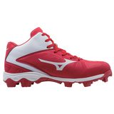 Mizuno 9-Spike Advanced Franchise 8 Mid - Red White - Baseball Footwear - Hit A Double - 2