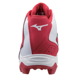 Mizuno 9-Spike Advanced Franchise 8 Mid - Red White - Baseball Footwear - Hit A Double - 3