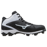 Mizuno 9-Spike Advanced Franchise 8 Mid - Black White - Baseball Footwear - Hit A Double - 2