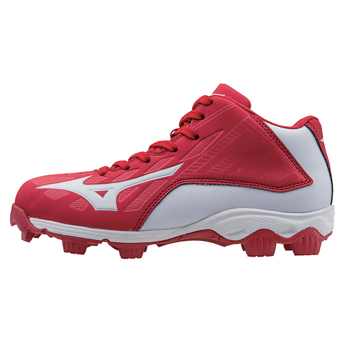 Mizuno 9-Spike Advanced Youth Franchise 8 Mid - Red White