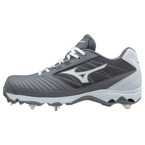 Mizuno 9-Spike Women's Advanced Sweep 4 Low Metal Cleats - Gray White