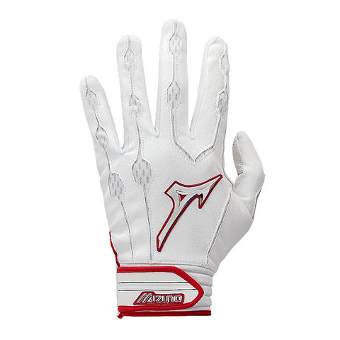 Mizuno Covert Youth Batting Gloves - White Red
