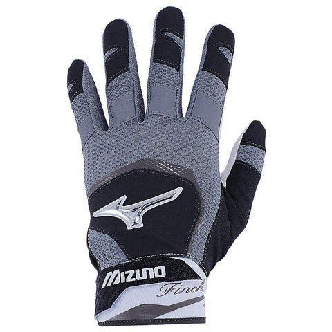Mizuno Women's 2018 Finch Softball Batting Gloves - Black White
