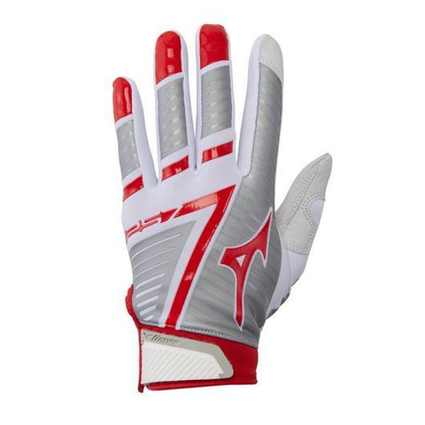 Mizuno F-257 Women's Softball Batting Gloves - White Red