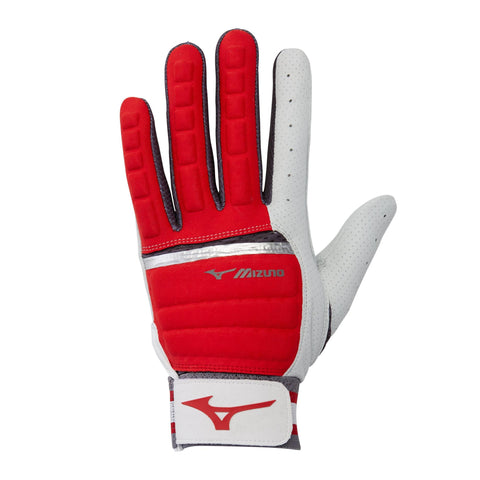 Mizuno B-130 Batting Gloves - Red Charcoal Shadow
