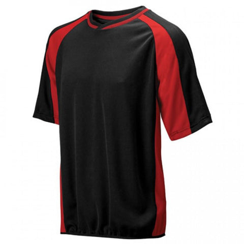 Mizuno 2 Color Mesh Short Sleeve Batting Jersey - Black-Red