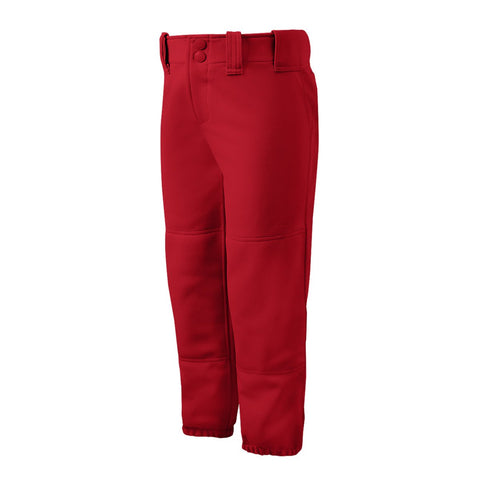 Mizuno Girls Belted Softball Pant - Red - Softball Apparel - Hit A Double - 1