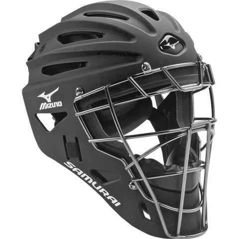 Mizuno Samurai Youth Catcher's Helmet G4 Black - 380192 - Catcher's Gear - Hit A Double