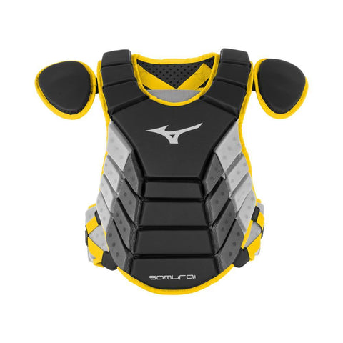 "Mizuno 2019 Samurai 14"" Chest Protector Youth - Black Yellow - Catcher's Gear - Hit A Double"