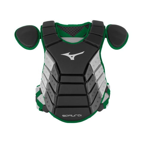 "Mizuno 2019 Samurai 14"" Chest Protector Youth - Black Forest - Catcher's Gear - Hit A Double"