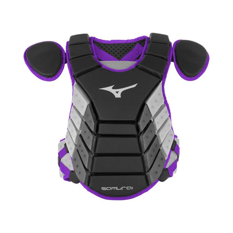 "Mizuno 2019 Samurai 14"" Chest Protector Youth - Black Purple - Catcher's Gear - Hit A Double"