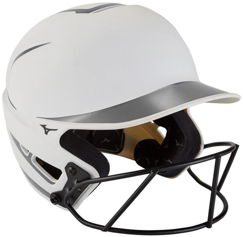 Mizuno F6 with FP Mask Matte 2Tone - White Gray - Softball Helmets - Hit A Double