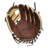 "Wilson A450 10.75"" Youth Utility Gloves WTA04RB191075 - Blonde Brown"