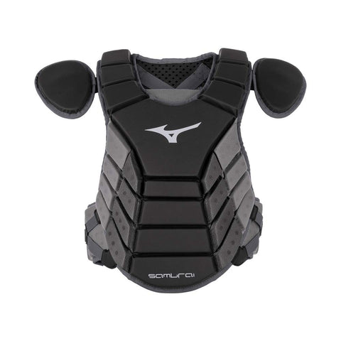 "Mizuno 2019 Samurai 14"" Chest Protector Youth - Black Gray - Catcher's Gear - Hit A Double"