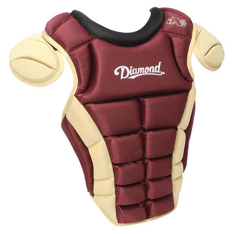 "Diamond DCP-iX5-MED 14.5"" Baseball Chest Protectors - Maroon Vegas Gold"