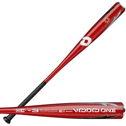 DeMarini 2019 Voodoo One Balanced (-3) BBCOR Bat WTDXVOC19 - Black Red