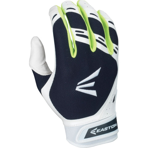 Easton HF7 Hyperskin Fastpitch Batting Gloves - White Navy