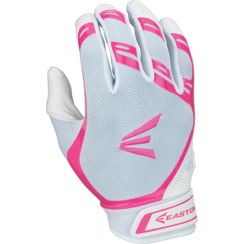 Easton HF7 Hyperskin Fastpitch Batting Gloves - White Pink