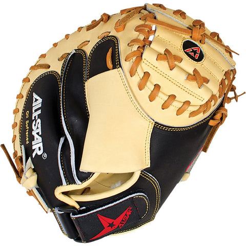 "All-Star Pro Series 35.00"" CM3100BT Catcher's Mitt - Tan Black - Baseball Gloves - Hit A Double - 1"