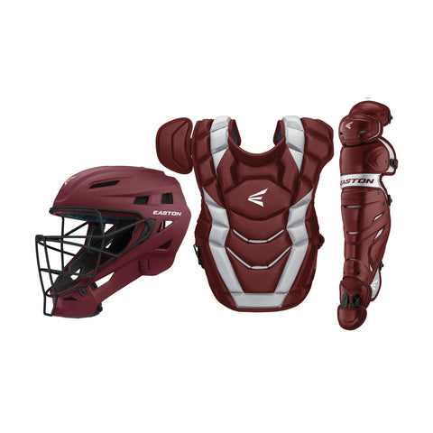 Easton Elite X Youth Catcher's Set - Maroon Silver - Catcher's Gear - Hit A Double