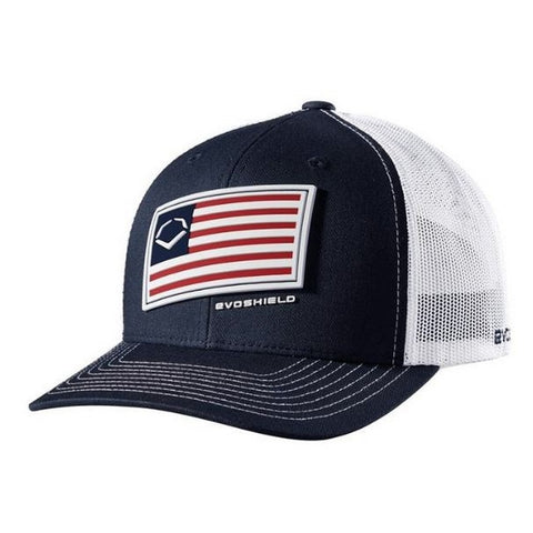 EvoShield Salute Flag Snapback Hat - Navy White