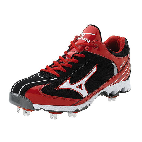 Mizuno 9 Spike Lite Vapor Elite 5 Metal Cleats Black / Red