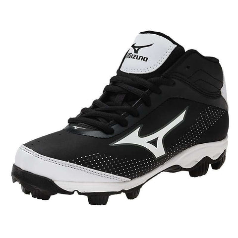 Mizuno 9 Spike Franchise 7 Mid Youth Molded Cleats - Black White
