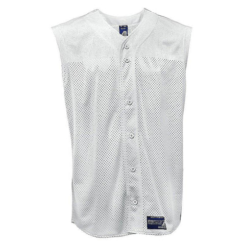 Mizuno Full Button Mesh Sleeveless Jersey - White