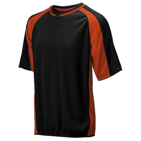 Mizuno 2 Color Mesh Short Sleeve Batting Jersey - Black-Orange