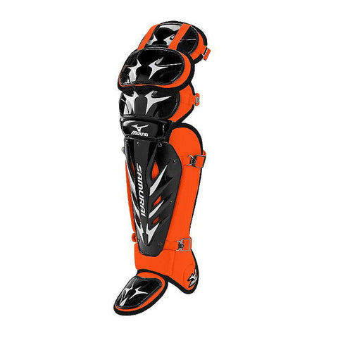 "Mizuno Samurai 15 1/2"" Shin Guards G3 - Black Orange - 380198"