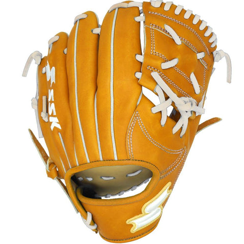 "SSK White Line One Piece Web 11.25"" Infield Glove Dimple - Camel White"
