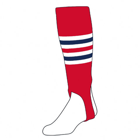 A Pair of Twin City Stirrups Adult -Scarlet White Navy