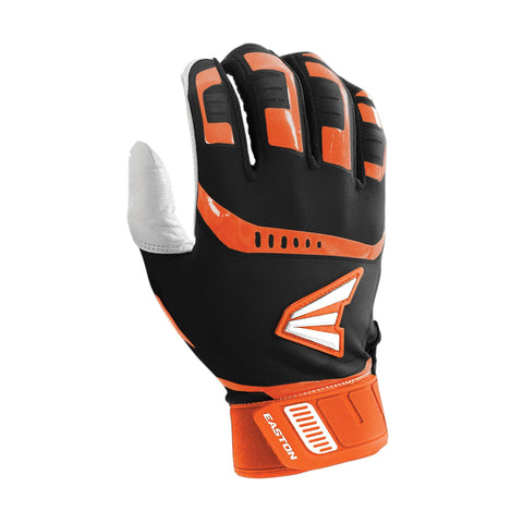 Easton Walk-Off Adult Batting Gloves - Black Orange