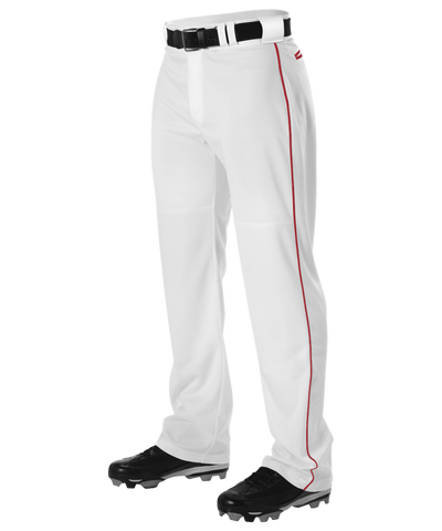 Alleson PWRPBP Adult Warp Knit Baseball Pant with Side Braid - White Scarlet - Baseball Apparel - Hit A Double